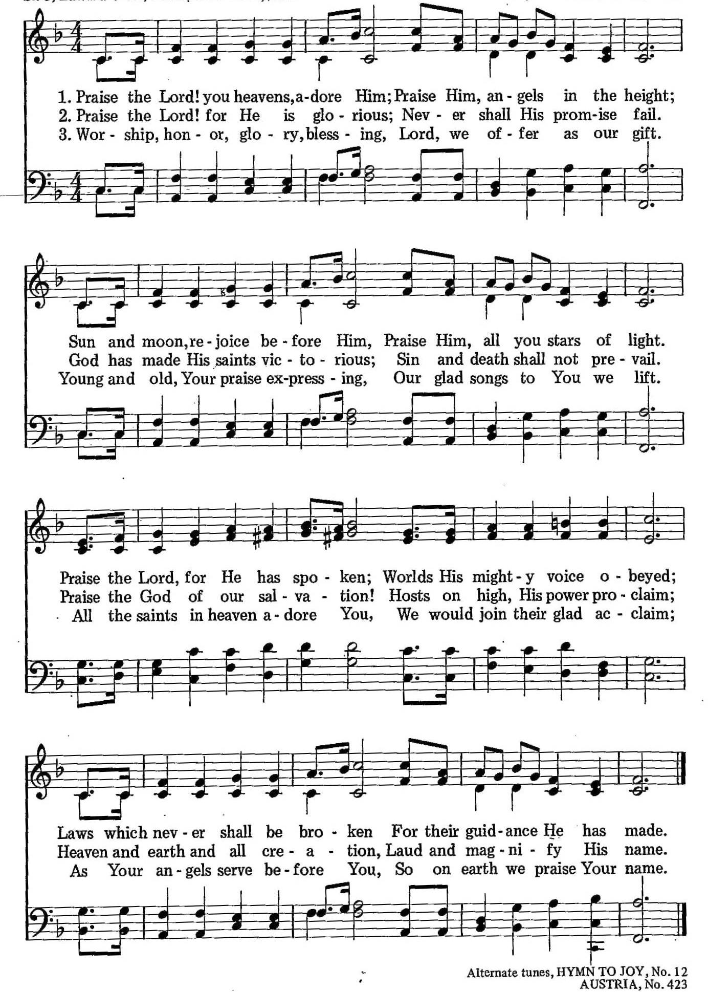 026 – Praise the Lord! You Heavens Adore Him sheet music