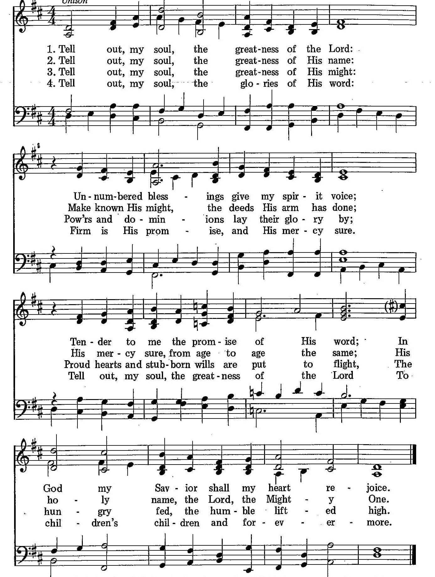 031 – Tell Out, My Soul sheet music